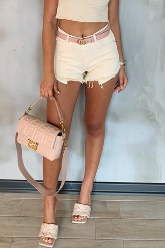 ZARAH Cream Distressed Booty Shorts