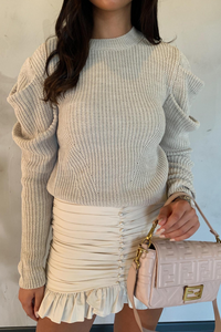 ROSALITA Beige Puff Sleeve Knitted Jumper