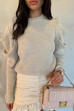 Load image into Gallery viewer, ROSALITA Beige Puff Sleeve Knitted Jumper