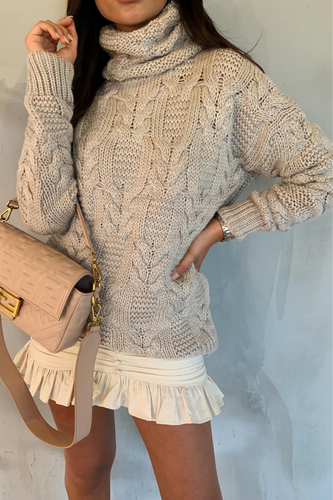 CELINA Beige Roll Neck Oversized Knitted Jumper