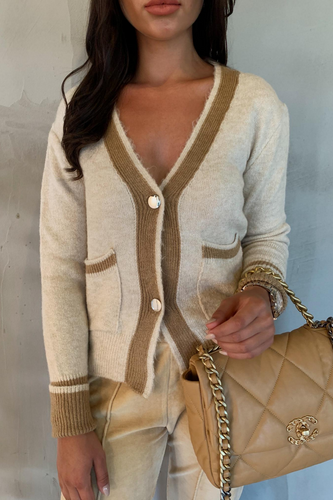 VIVIENNA Cream And Camel Detail V Neck Cardigan