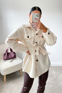 CHELSEA Cream Belted Shacket
