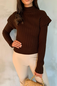 LILLY Brown Frill Shoulder High Neck Knit Jumper
