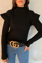 Load image into Gallery viewer, LILLY Black Frill Shoulder High Neck Knit Jumper