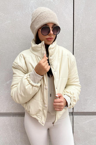SARAH Cream PU Puffer Jacket