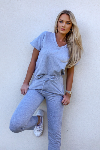Stella Grey V Neck Loungewear Set