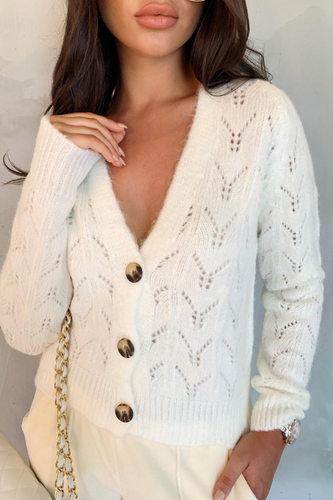 INDIA Cream V Neck Buttoned Knitted Cardigan