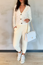 Load image into Gallery viewer, INDIA Cream V Neck Buttoned Knitted Cardigan