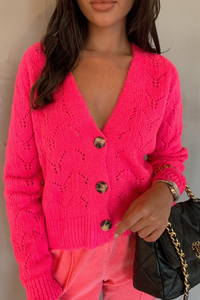 INDIA Pink V Neck Buttoned Knitted Cardigan