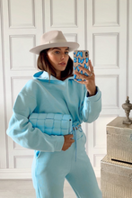 Load image into Gallery viewer, LARA Powder Blue Hooded Crop Lounge Set
