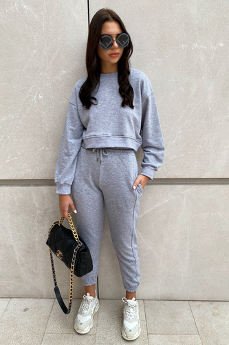 MARY Grey Cropped Jumper