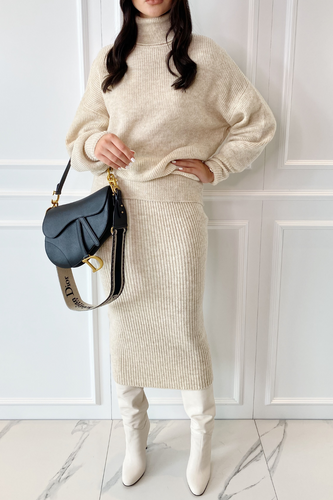 NADA Cream Roll Neck Jumper And Skirt Co-Ord