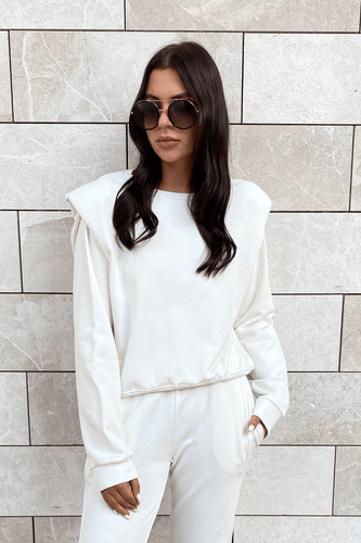 BETH Cream Basic Shoulder Pad Jumper