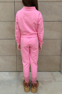 Mini PASTELLE Pink High Neck Pin Stripe Loungewear Set