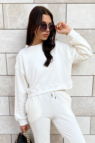 MARY Cream Cropped Jumper