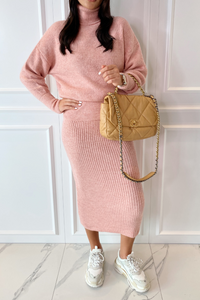 NADA Pink Roll Neck Jumper And Skirt Co-Ord