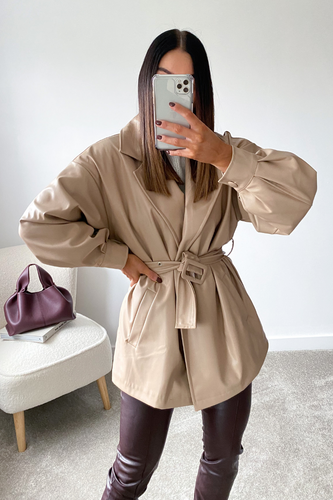 EVA Sand belted Oversized PU Jacket