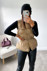 KIMBERLY Camel Padded Vest