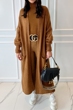 Load image into Gallery viewer, LUCY Camel Knitted Bell Sleeve  Maxi Cardigan