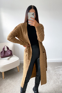LORNA Camel Rope Belted Midi Cardigan