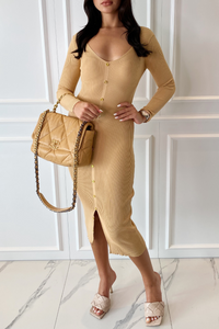 JODIE Camel V Neck Button Front Midi Dress