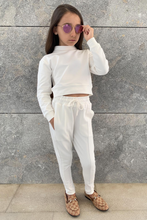 Load image into Gallery viewer, Mini PASTELLE Cream High Neck Pin Stripe Loungewear Set