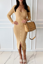 Load image into Gallery viewer, JODIE Camel V Neck Button Front Midi Dress