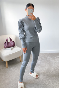 NINA Grey Puff Sleeve Lounge Set