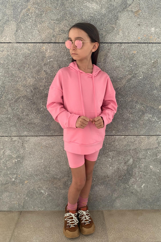 Mini ROME Pink Hooded Cropped Cycling Shorts Co-Ord