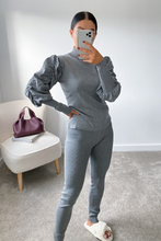 Load image into Gallery viewer, NINA Grey Puff Sleeve Lounge Set