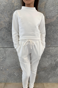 Mini PASTELLE Cream High Neck Pin Stripe Loungewear Set