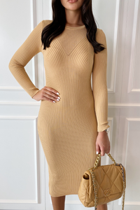 ELLIE Camel Long Sleeve Ribbed Midi Dress