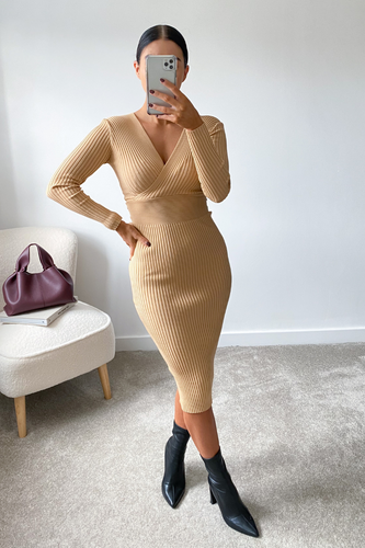 MADDIE Camel Surplice Long Sleeve Ribbed Midi Dress