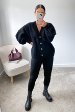 Load image into Gallery viewer, CAPRI Black Cable Knit Cardigan And Joggers Set