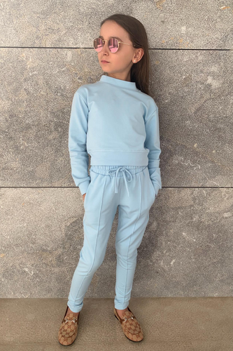 Mini PASTELLE Blue High Neck Pin Stripe Loungewear Set
