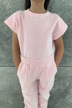 Load image into Gallery viewer, Mini CANDY Powder Pink Towelling Shoulder Pad Lounge Set