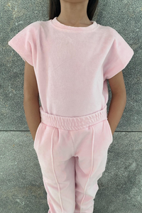 Mini CANDY Powder Pink Towelling Shoulder Pad Lounge Set