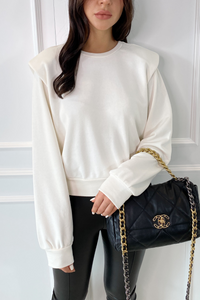 STEPH Cream Bold Shoulder Long Sleeve Top