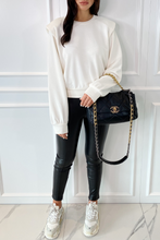 Load image into Gallery viewer, STEPH Cream Bold Shoulder Long Sleeve Top