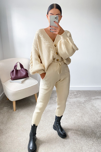 CAPRI Cream Cable Knit Cardigan And Joggers Set