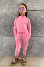 Load image into Gallery viewer, Mini PASTELLE Pink High Neck Pin Stripe Loungewear Set