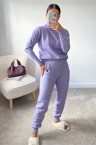 LAURA Lilac Turtleneck Soft Knit Loungewear Set