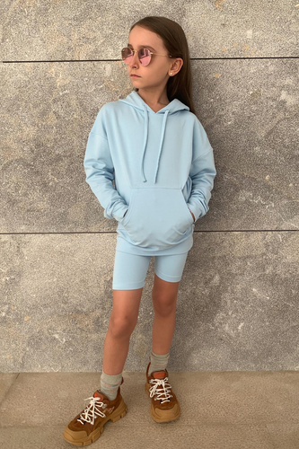 Mini ROME Blue Hooded Cropped Cycling Shorts Co-Ord
