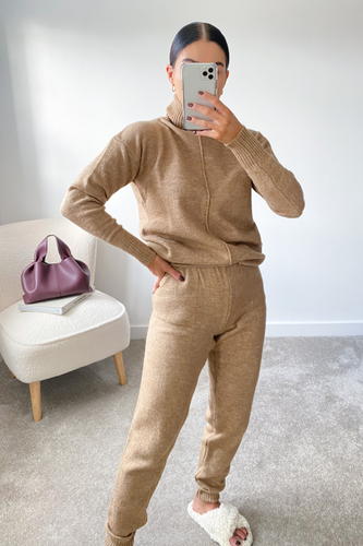 LAURA Brown Turtleneck Soft Knit Loungewear Set