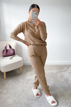 Load image into Gallery viewer, LAURA Brown Turtleneck Soft Knit Loungewear Set