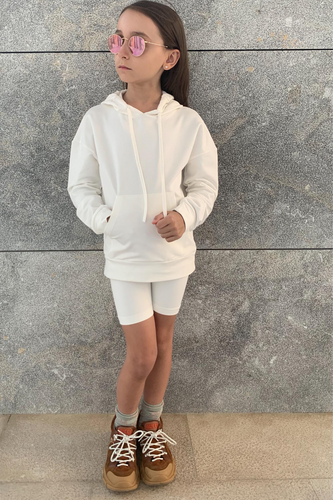 Mini ROME Cream Hooded Cropped Cycling Shorts Co-Ord