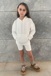 Mini ROME Cream Hooded Cropped Cycling Shorts Set
