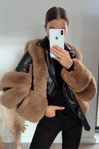 LUNA Camel Faux Fur Black PU Aviator Jacket