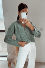 Load image into Gallery viewer, RACHEL Mint Cropped Cardigan