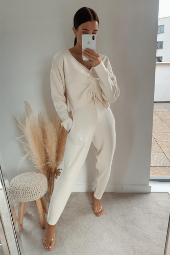 COURTNEY Cream Ruched Front Knitted Loungewear